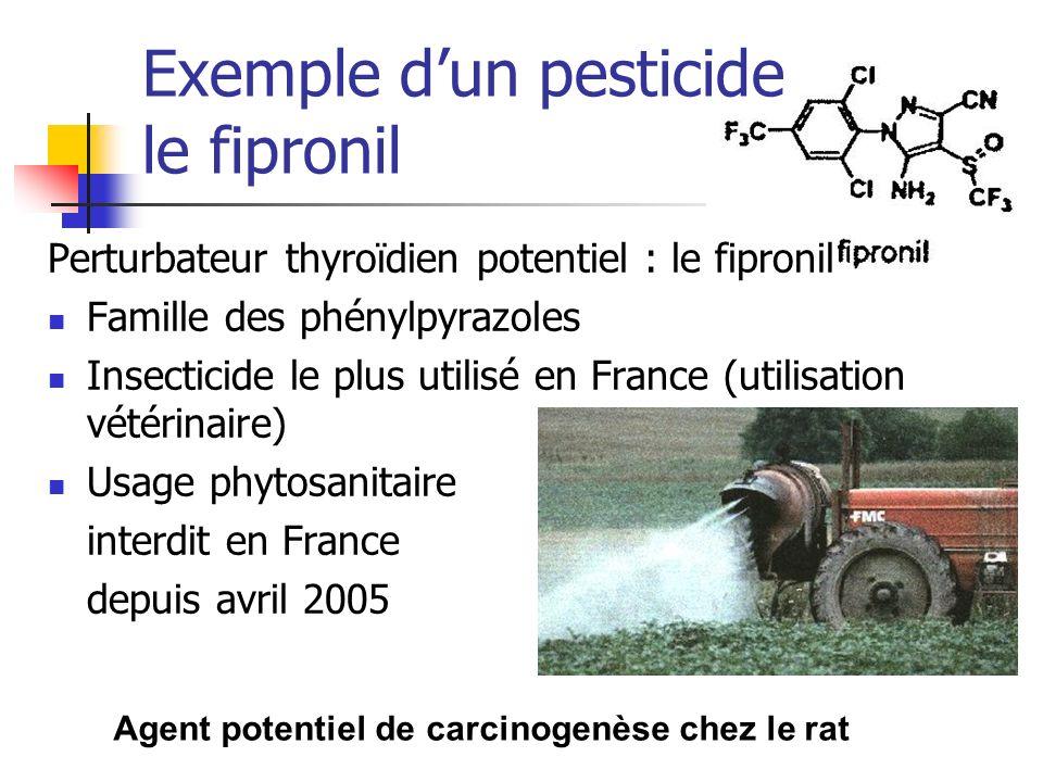 Agent potentiel de carcinogenèse chez le rat Exemple dun pesticide le fipronil Perturbateur thyroïdien potentiel : le fipronil Famille des phénylpyraz