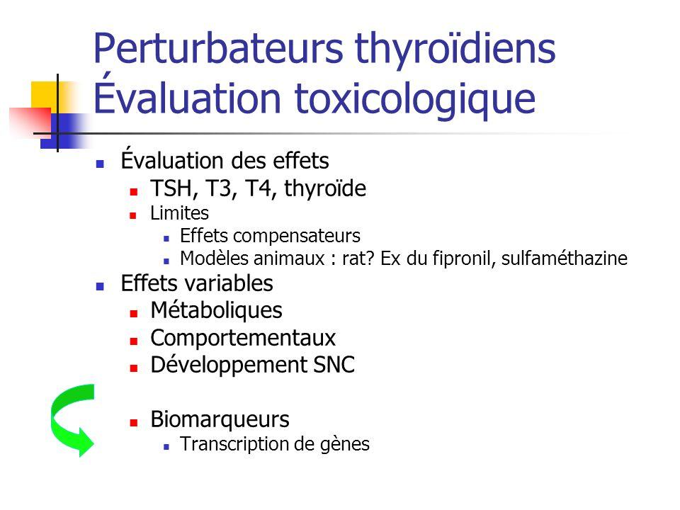 Perturbateurs thyroïdiens Évaluation toxicologique Évaluation des effets TSH, T3, T4, thyroïde Limites Effets compensateurs Modèles animaux : rat? Ex