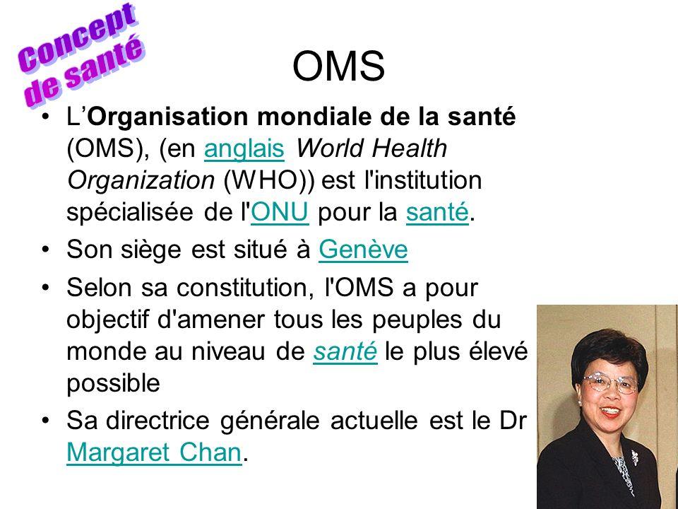OMS LOrganisation mondiale de la santé (OMS), (en anglais World Health Organization (WHO)) est l'institution spécialisée de l'ONU pour la santé.anglai