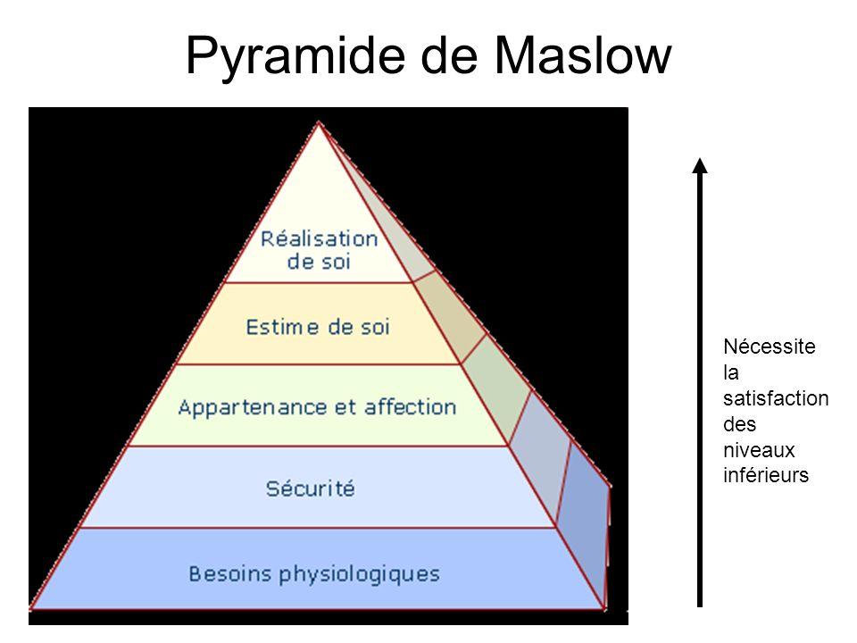 Pyramide de Maslow Nécessite la satisfaction des niveaux inférieurs