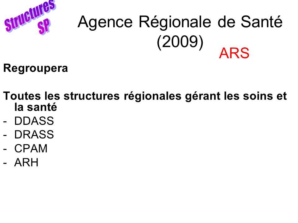 Agence Régionale de Santé (2009) Regroupera Toutes les structures régionales gérant les soins et la santé -DDASS -DRASS -CPAM -ARH ARS