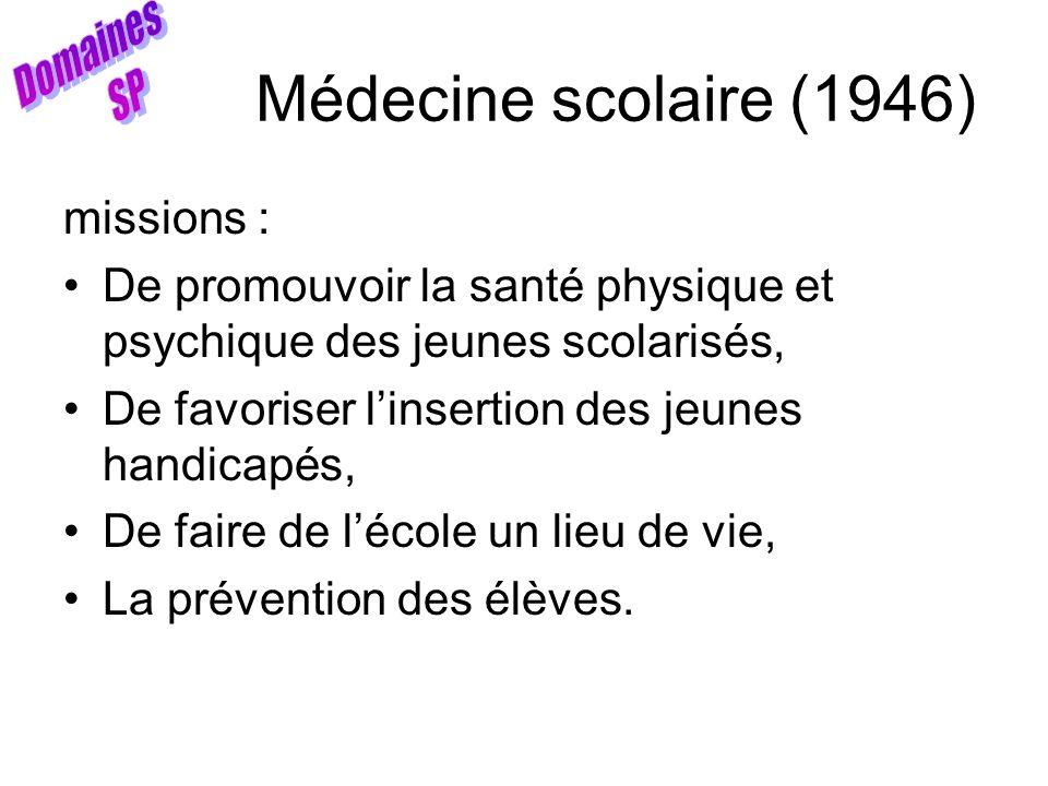 Médecine scolaire (1946) missions : De promouvoir la santé physique et psychique des jeunes scolarisés, De favoriser linsertion des jeunes handicapés,