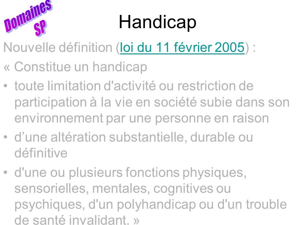 Handicap Nouvelle définition (loi du 11 février 2005) :loi du 11 février 2005 « Constitue un handicap toute limitation d'activité ou restriction de pa