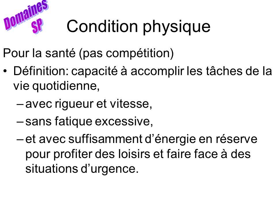 Condition physique Pour la santé (pas compétition) Définition: capacité à accomplir les tâches de la vie quotidienne, –avec rigueur et vitesse, –sans