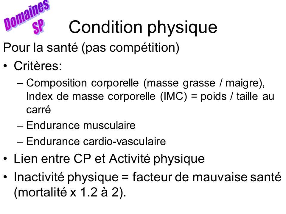 Condition physique Pour la santé (pas compétition) Critères: –Composition corporelle (masse grasse / maigre), Index de masse corporelle (IMC) = poids