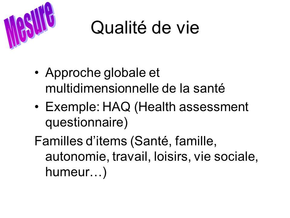 Qualité de vie Approche globale et multidimensionnelle de la santé Exemple: HAQ (Health assessment questionnaire) Familles ditems (Santé, famille, aut