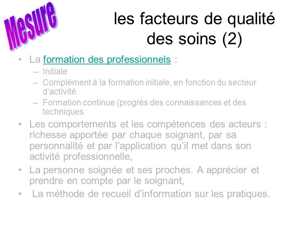 les facteurs de qualité des soins (2) La formation des professionnels :formation des professionnels –Initiale –Complément à la formation initiale, en