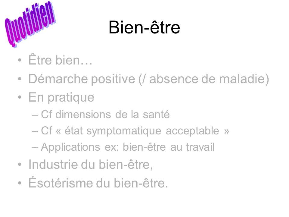 Bien-être Être bien… Démarche positive (/ absence de maladie) En pratique –Cf dimensions de la santé –Cf « état symptomatique acceptable » –Applicatio