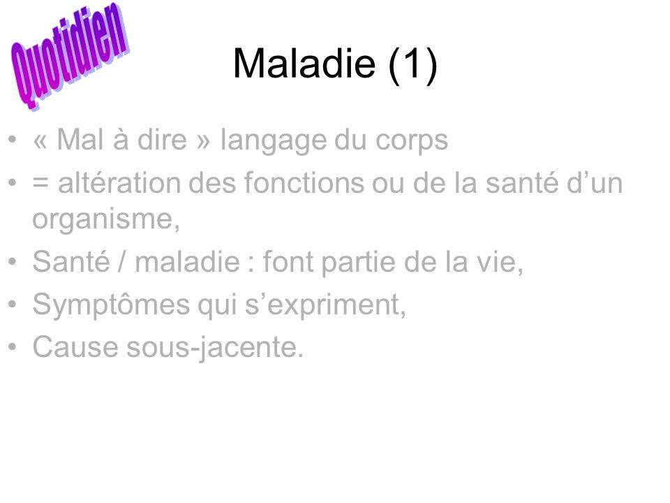Maladie (1) « Mal à dire » langage du corps = altération des fonctions ou de la santé dun organisme, Santé / maladie : font partie de la vie, Symptôme