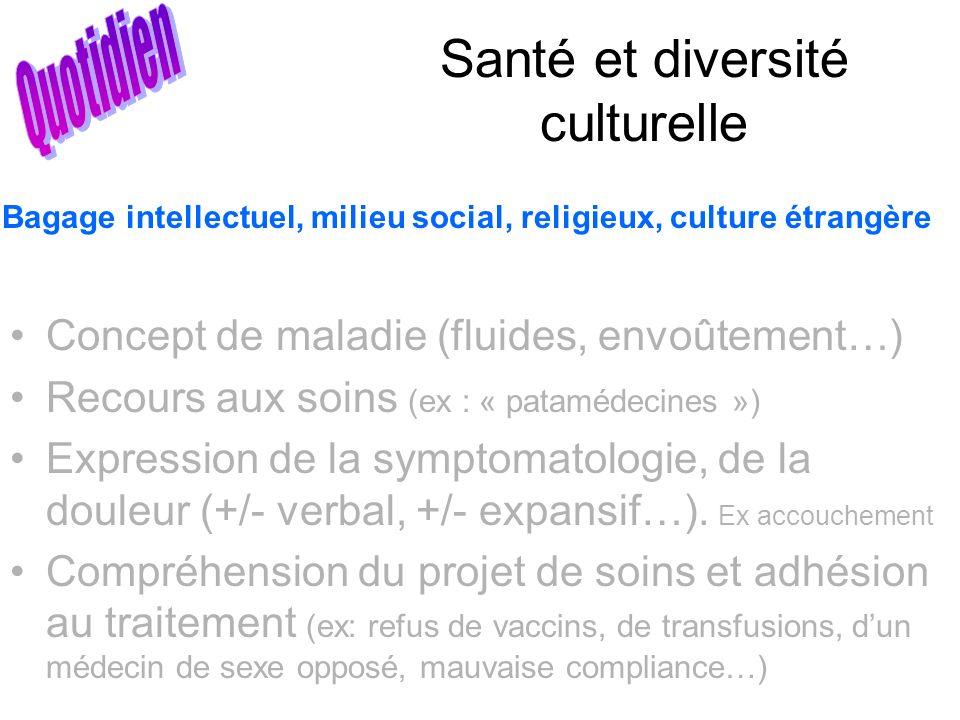 Santé et diversité culturelle Concept de maladie (fluides, envoûtement…) Recours aux soins (ex : « patamédecines ») Expression de la symptomatologie,