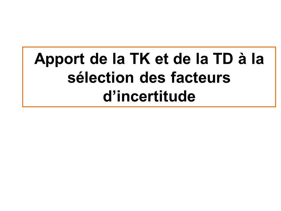 Apport de la TK et de la TD à la sélection des facteurs dincertitude