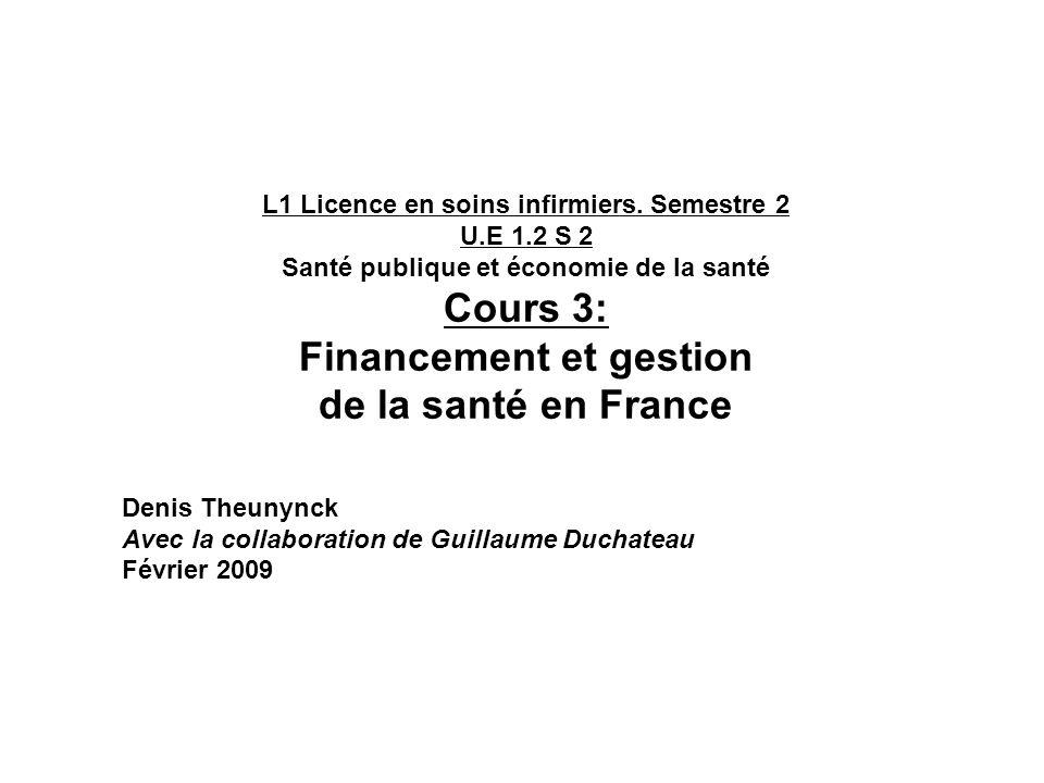 L1 Licence en soins infirmiers. Semestre 2 U.E 1.2 S 2 Santé publique et économie de la santé Cours 3: Financement et gestion de la santé en France De