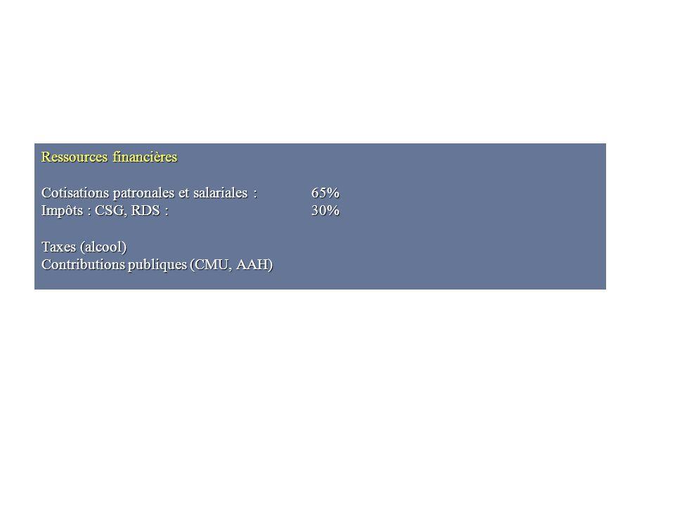 Ressources financières Cotisations patronales et salariales :65% Impôts : CSG, RDS :30% Taxes (alcool) Contributions publiques (CMU, AAH)