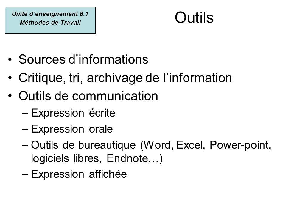 Outils Sources dinformations Critique, tri, archivage de linformation Outils de communication –Expression écrite –Expression orale –Outils de bureauti