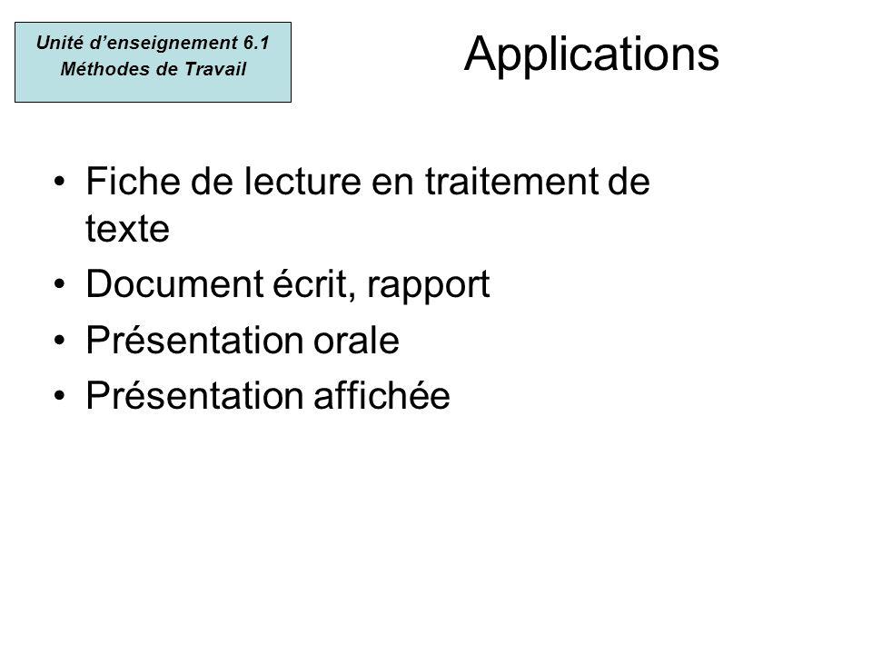 Applications Fiche de lecture en traitement de texte Document écrit, rapport Présentation orale Présentation affichée Unité denseignement 6.1 Méthodes