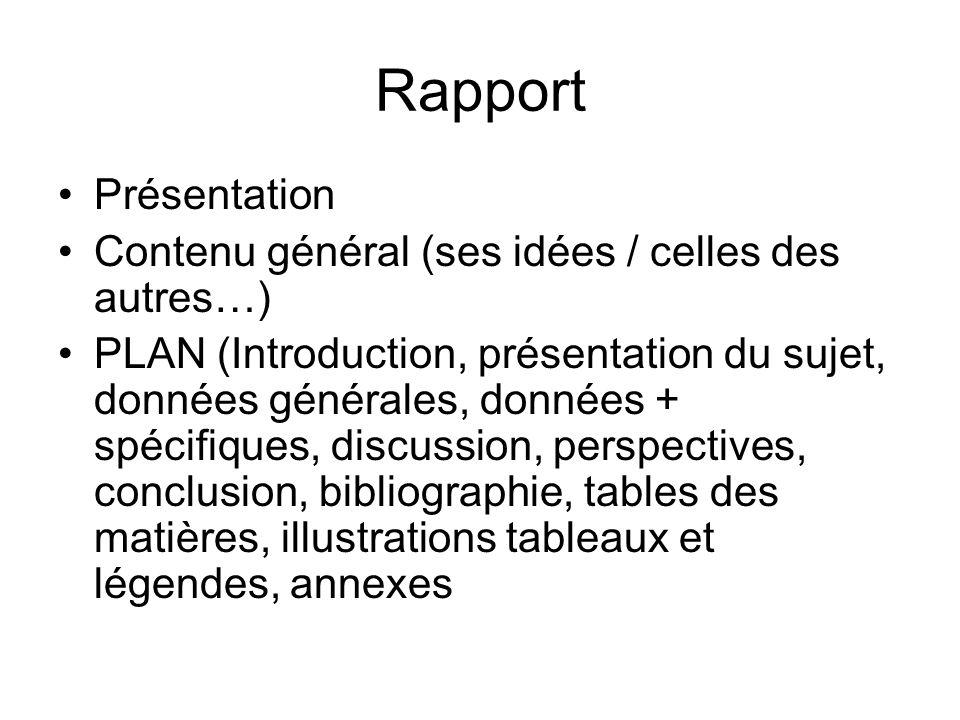 Rapport Présentation Contenu général (ses idées / celles des autres…) PLAN (Introduction, présentation du sujet, données générales, données + spécifiq