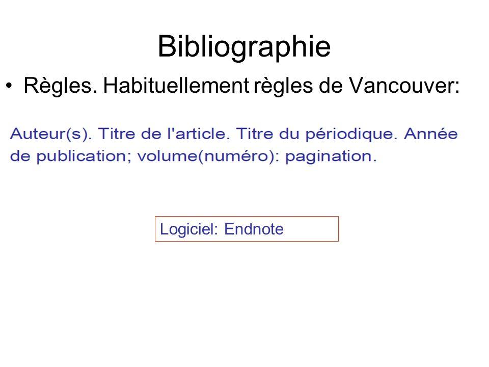 Bibliographie Règles. Habituellement règles de Vancouver: Logiciel: Endnote