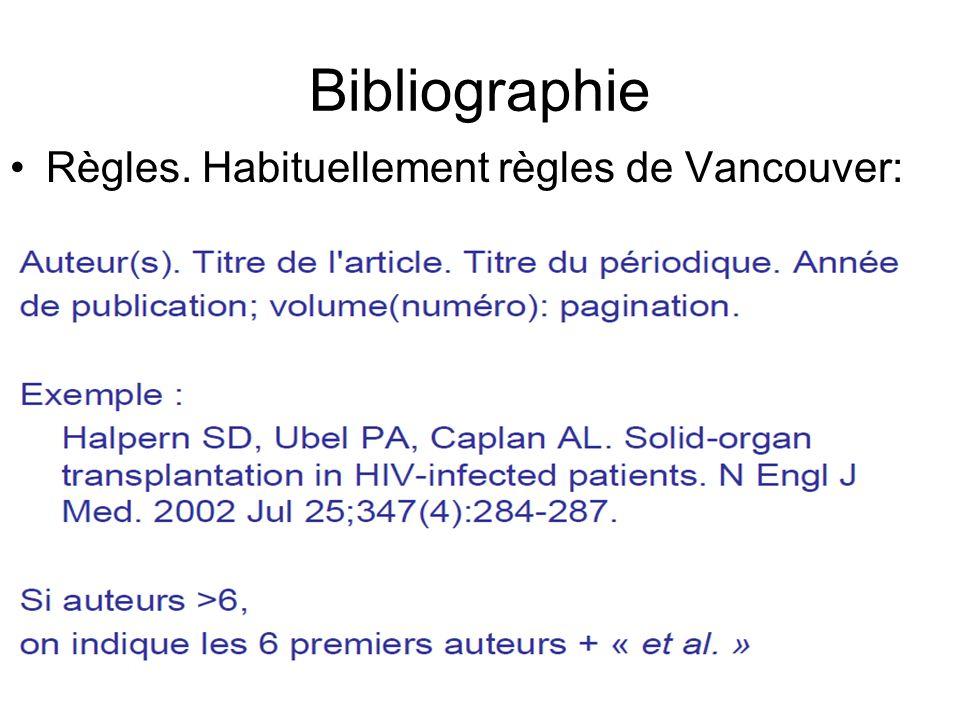 Bibliographie Règles. Habituellement règles de Vancouver: