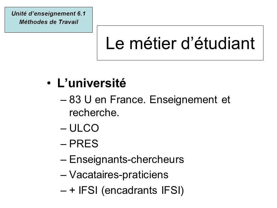 Le métier détudiant Luniversité –83 U en France. Enseignement et recherche. –ULCO –PRES –Enseignants-chercheurs –Vacataires-praticiens –+ IFSI (encadr