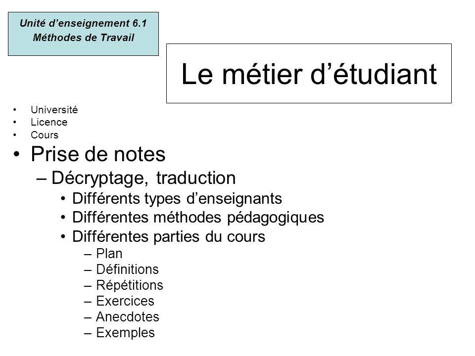 Le métier détudiant Université Licence Cours Prise de notes –Décryptage, traduction Différents types denseignants Différentes méthodes pédagogiques Di
