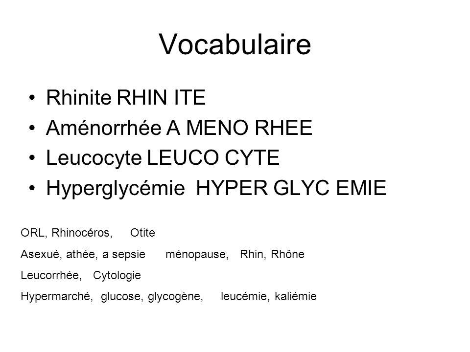 Vocabulaire Rhinite RHIN ITE Aménorrhée A MENO RHEE Leucocyte LEUCO CYTE Hyperglycémie HYPER GLYC EMIE ORL, Rhinocéros, Otite Asexué, athée, a sepsie