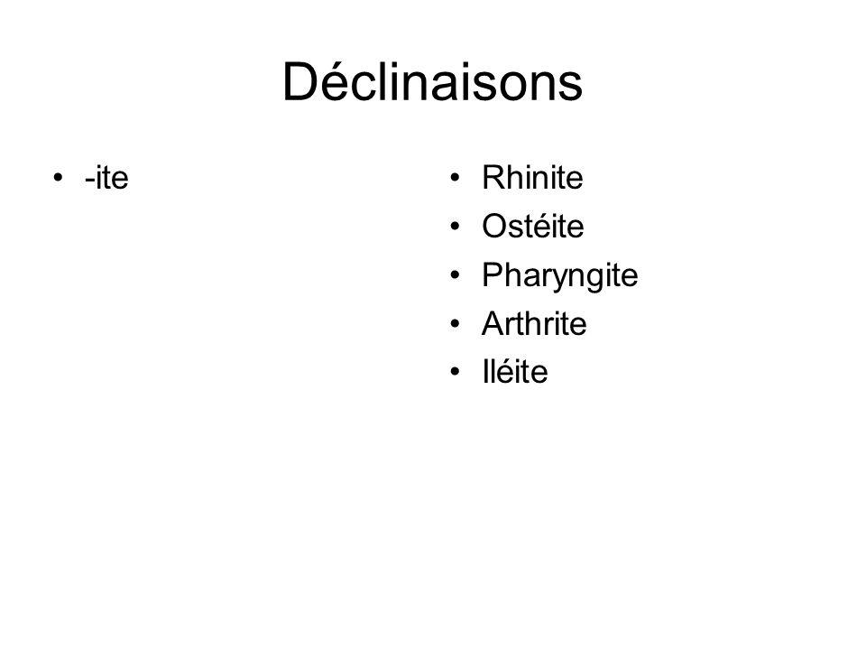 Déclinaisons -iteRhinite Ostéite Pharyngite Arthrite Iléite