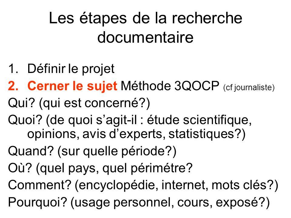 Les étapes de la recherche documentaire 1.Définir le projet 2.Cerner le sujet Méthode 3QOCP (cf journaliste) Qui? (qui est concerné?) Quoi? (de quoi s