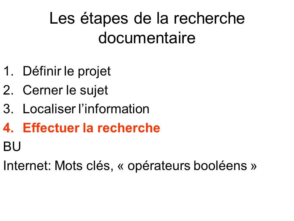 Les étapes de la recherche documentaire 1.Définir le projet 2.Cerner le sujet 3.Localiser linformation 4.Effectuer la recherche BU Internet: Mots clés