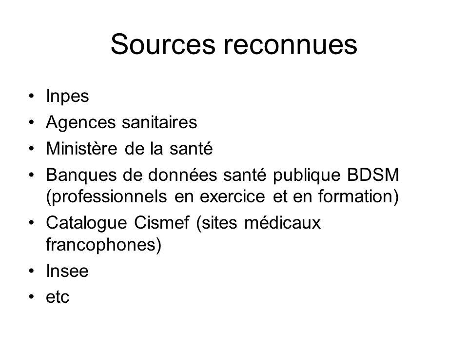 Sources reconnues Inpes Agences sanitaires Ministère de la santé Banques de données santé publique BDSM (professionnels en exercice et en formation) C