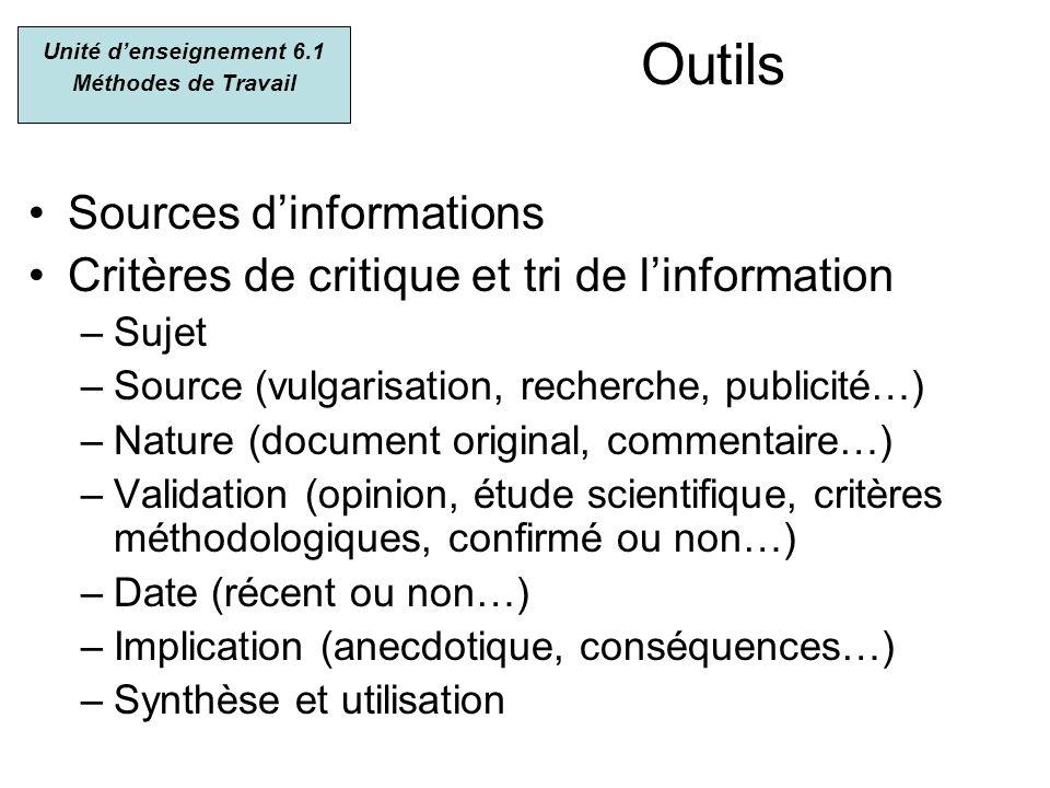 Outils Sources dinformations Critères de critique et tri de linformation –Sujet –Source (vulgarisation, recherche, publicité…) –Nature (document origi