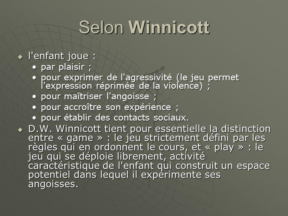 Selon Winnicott l'enfant joue : l'enfant joue : par plaisir ;par plaisir ; pour exprimer de l'agressivité (le jeu permet l'expression réprimée de la v