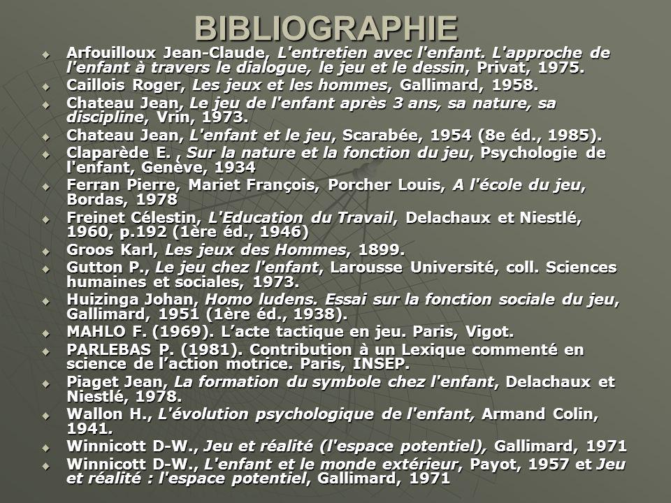 BIBLIOGRAPHIE Arfouilloux Jean-Claude, L'entretien avec l'enfant. L'approche de l'enfant à travers le dialogue, le jeu et le dessin, Privat, 1975. Arf