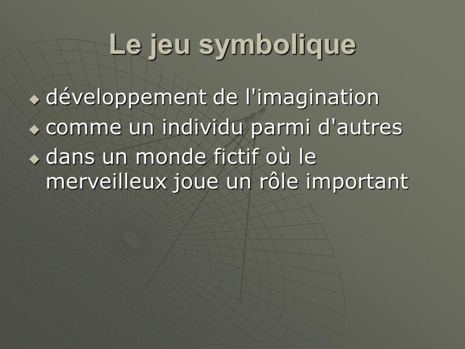 Le jeu symbolique développement de l'imagination développement de l'imagination comme un individu parmi d'autres comme un individu parmi d'autres dans