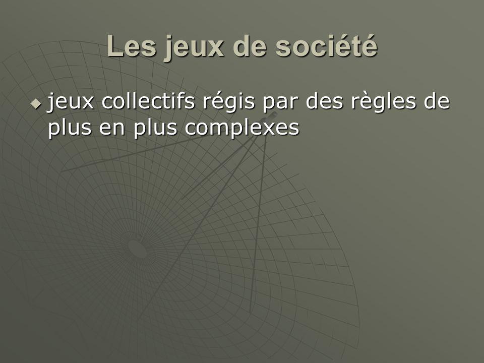 Les jeux de société jeux collectifs régis par des règles de plus en plus complexes jeux collectifs régis par des règles de plus en plus complexes