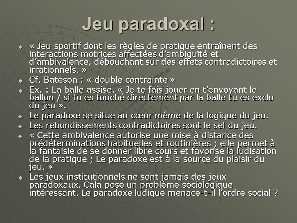 Jeu paradoxal : « Jeu sportif dont les règles de pratique entraînent des interactions motrices affectées dambiguïté et dambivalence, débouchant sur de