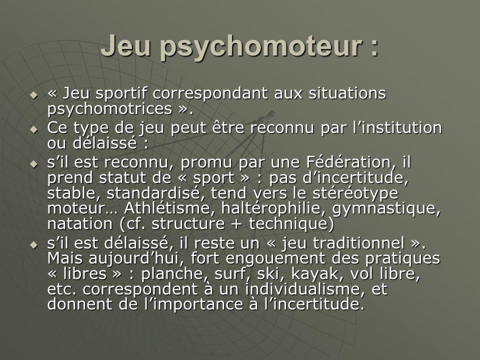 Jeu psychomoteur : « Jeu sportif correspondant aux situations psychomotrices ». « Jeu sportif correspondant aux situations psychomotrices ». Ce type d