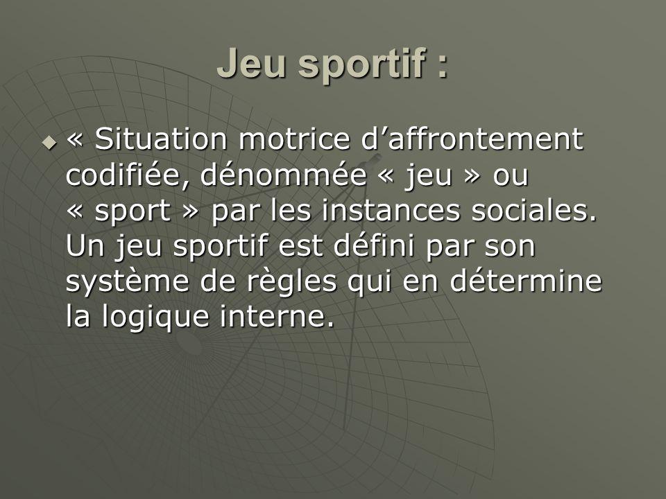 Jeu sportif : « Situation motrice daffrontement codifiée, dénommée « jeu » ou « sport » par les instances sociales. Un jeu sportif est défini par son