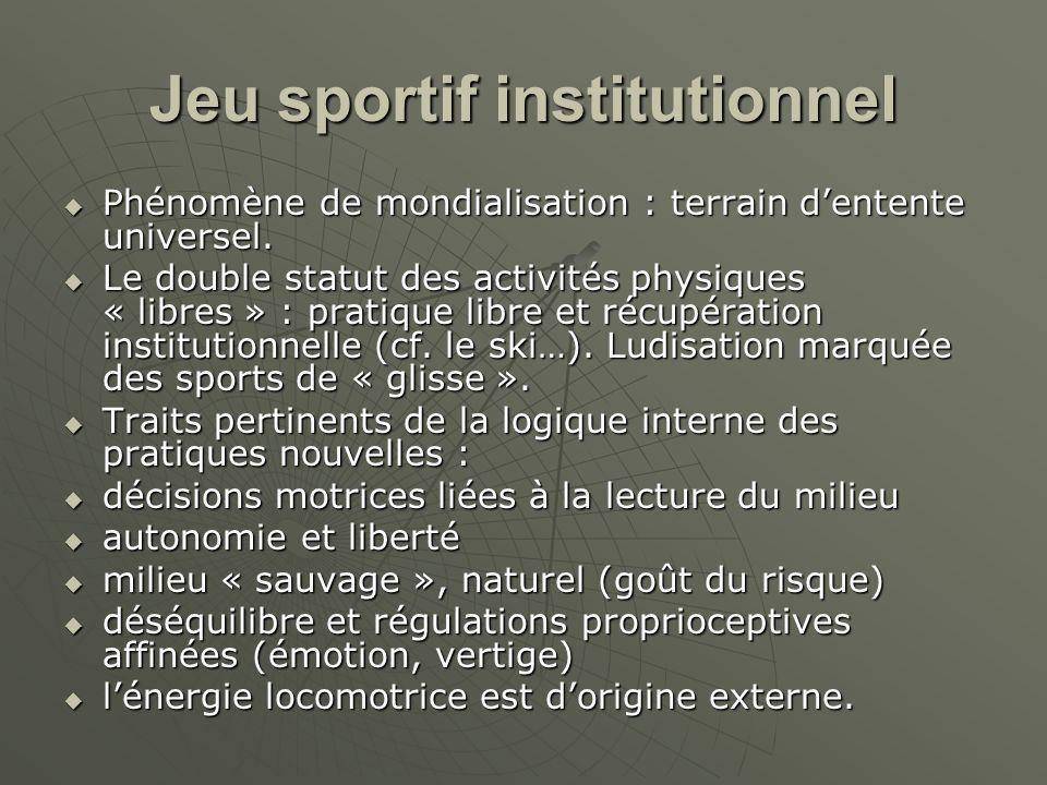 Jeu sportif institutionnel Phénomène de mondialisation : terrain dentente universel. Phénomène de mondialisation : terrain dentente universel. Le doub