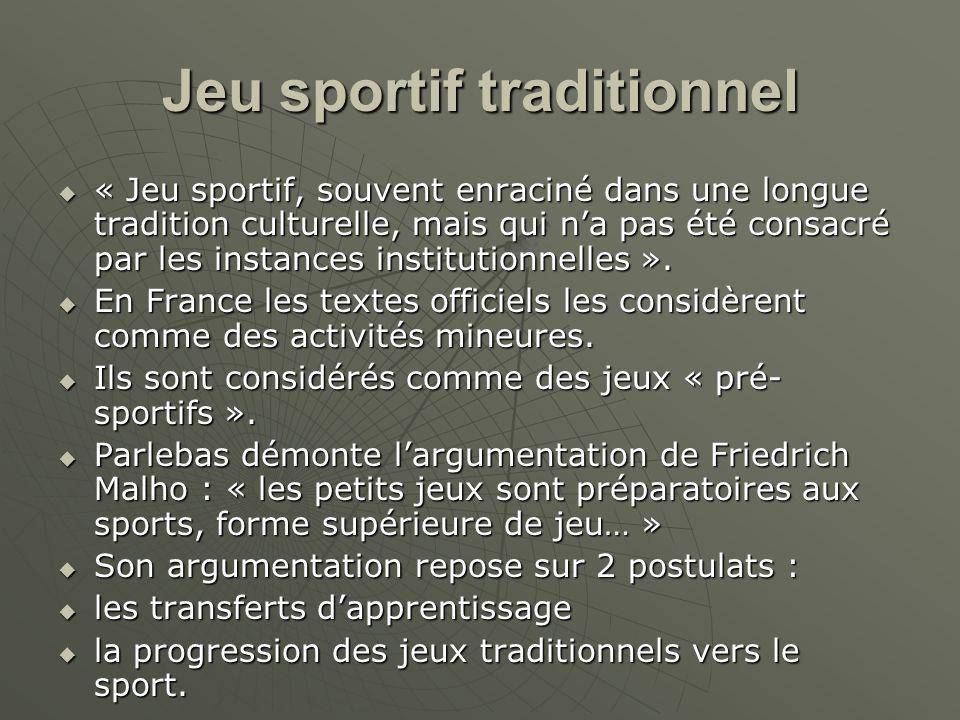 Jeu sportif traditionnel « Jeu sportif, souvent enraciné dans une longue tradition culturelle, mais qui na pas été consacré par les instances institut