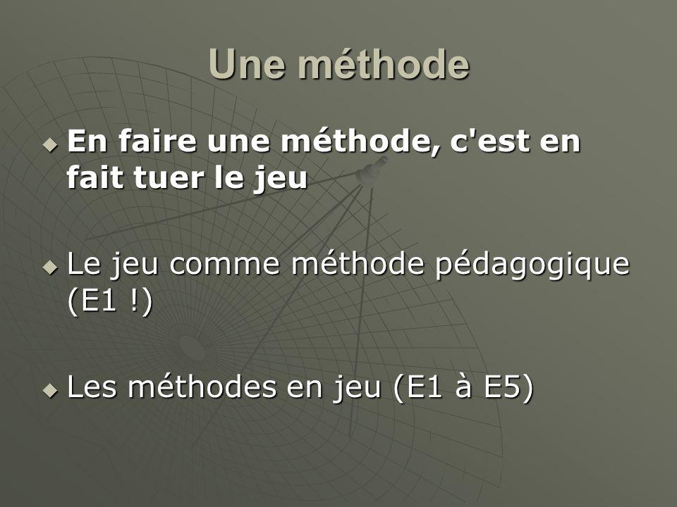 Une méthode En faire une méthode, c'est en fait tuer le jeu En faire une méthode, c'est en fait tuer le jeu Le jeu comme méthode pédagogique (E1 !) Le