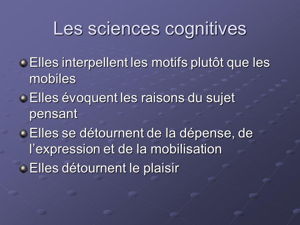 Les sciences cognitives Elles interpellent les motifs plutôt que les mobiles Elles évoquent les raisons du sujet pensant Elles se détournent de la dép