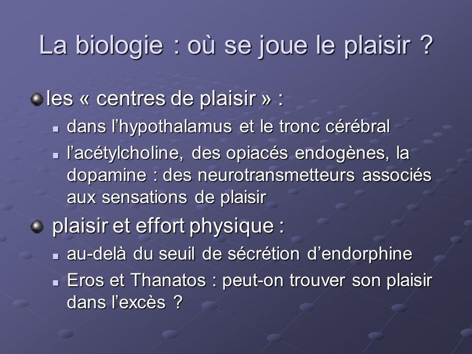 La biologie : où se joue le plaisir ? les « centres de plaisir » : dans lhypothalamus et le tronc cérébral dans lhypothalamus et le tronc cérébral lac