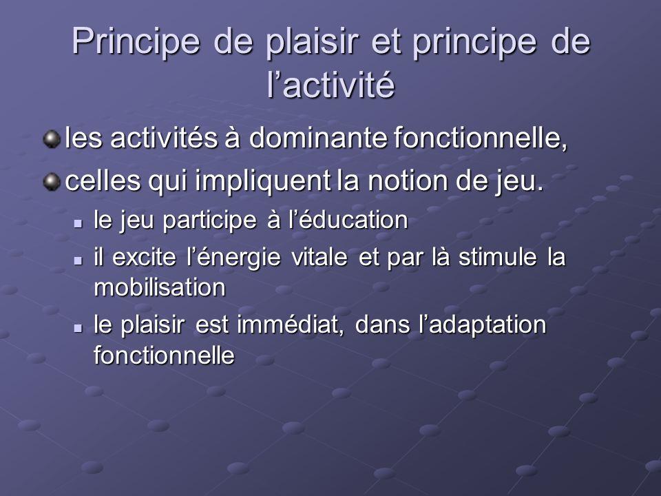 Principe de plaisir et principe de lactivité les activités à dominante fonctionnelle, celles qui impliquent la notion de jeu. le jeu participe à léduc