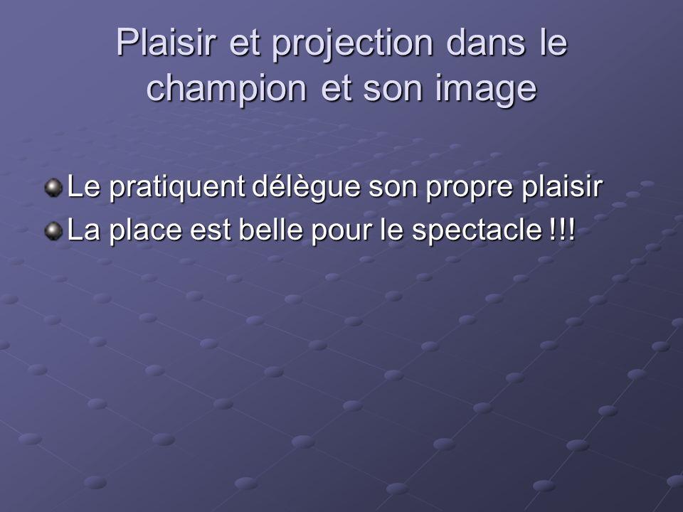 Plaisir et projection dans le champion et son image Le pratiquent délègue son propre plaisir La place est belle pour le spectacle !!!