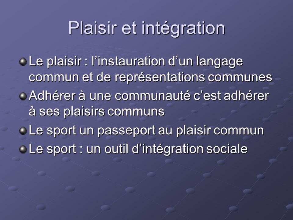 Plaisir et intégration Le plaisir : linstauration dun langage commun et de représentations communes Adhérer à une communauté cest adhérer à ses plaisi