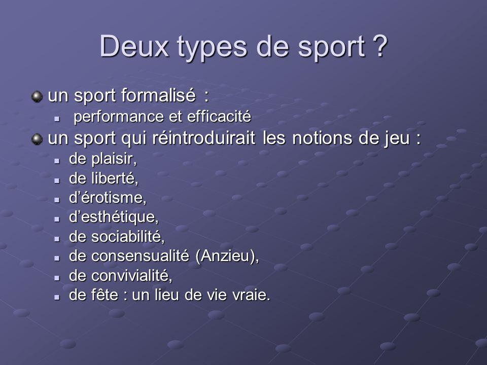 Deux types de sport ? un sport formalisé : performance et efficacité performance et efficacité un sport qui réintroduirait les notions de jeu : de pla