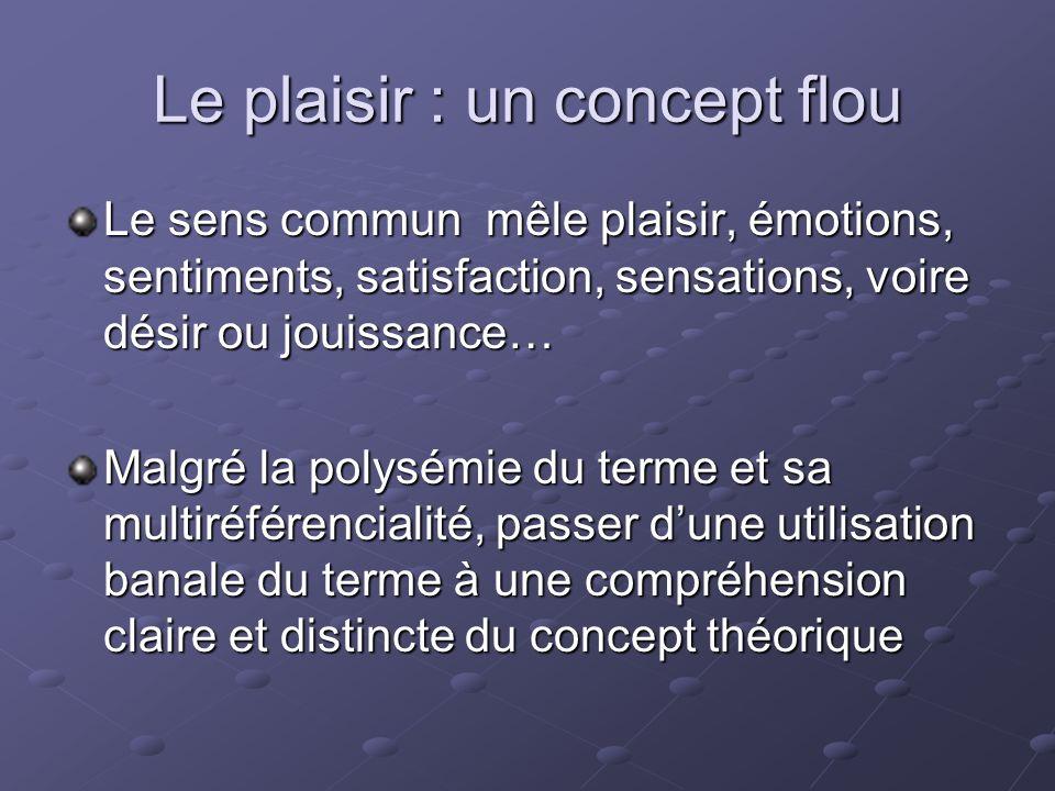 Le plaisir : un concept flou Le sens commun mêle plaisir, émotions, sentiments, satisfaction, sensations, voire désir ou jouissance… Malgré la polysém