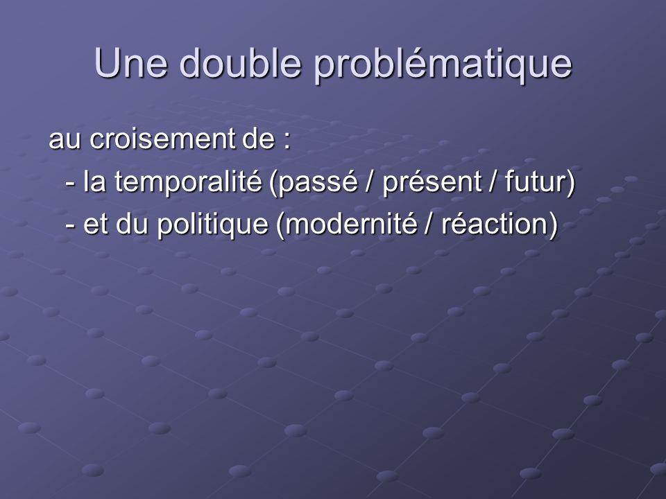Une double problématique au croisement de : au croisement de : - la temporalité (passé / présent / futur) - et du politique (modernité / réaction)