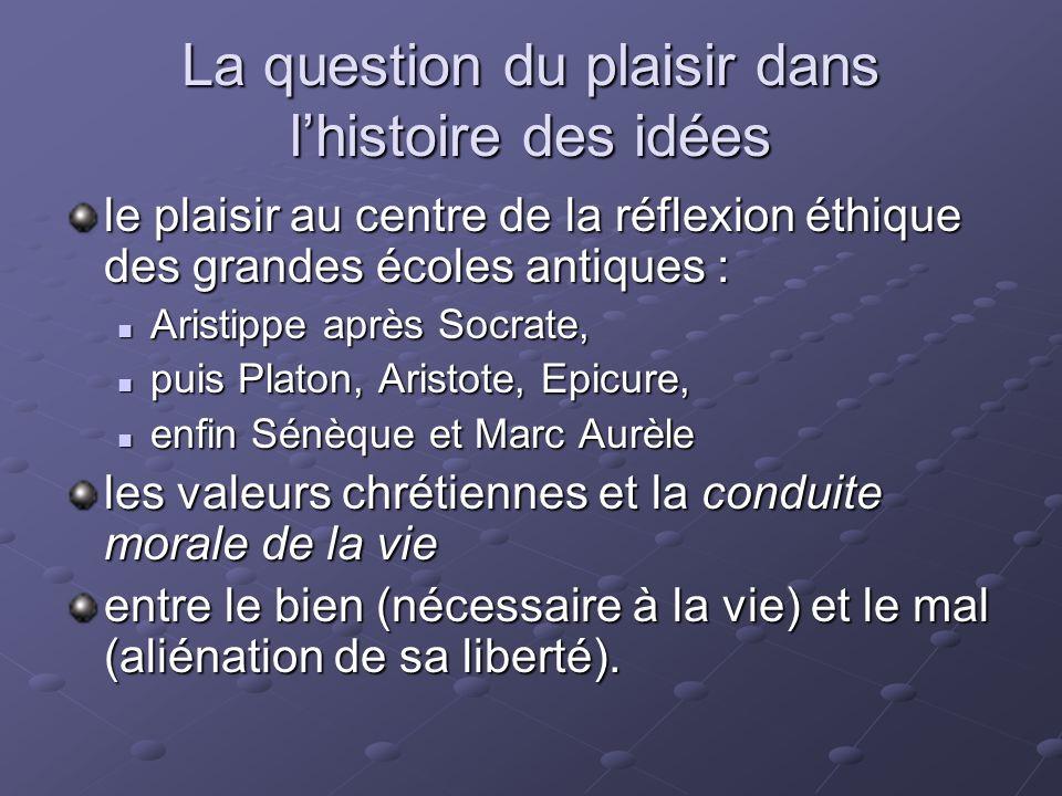 La question du plaisir dans lhistoire des idées le plaisir au centre de la réflexion éthique des grandes écoles antiques : Aristippe après Socrate, Ar