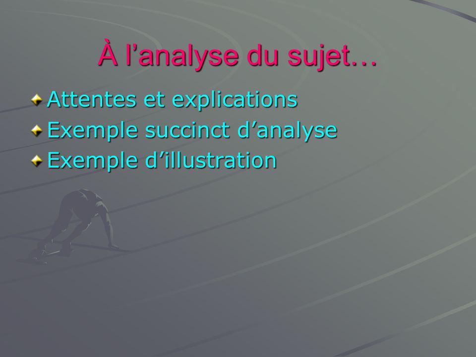 À lanalyse du sujet… Attentes et explications Exemple succinct danalyse Exemple dillustration